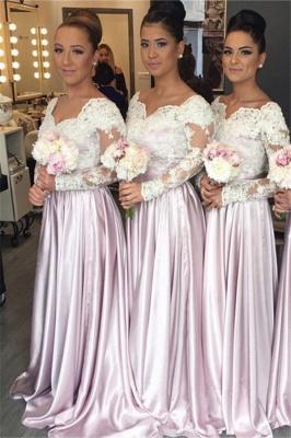 Elegant White-Lace Long-Sleeve Popular Pink V-neck Bridesmaid Dress_2