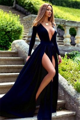 Plunging Neck Long Sleeve Summer Dresses Sexy Split Long Formal Gowns BA3599_1