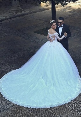 Appliques Tulle Long Sleeves Cheap Online New Arrival Lace Beadings Elegant Ball Gown Wedding Dresses_6