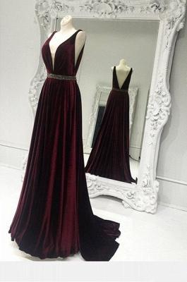Sweep Train Brads Sleeveless Custom Made A-line V-neck Burgundy Zipper Prom Dresses Cheap_2