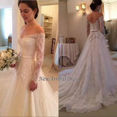 Court Train Long Sleeve Bridal Gowns Cheap | New Arrival Lace Off The Shoulder Wedding Dresses_1