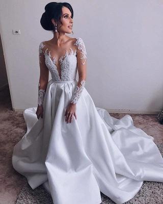 Robes de mariée en satin élégantes à manches longues   Robes De Mariée Pas Cher 2020 Dentelle A-line_3