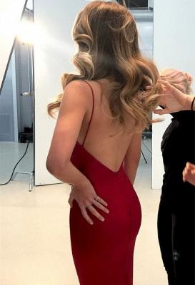 Spaghetti Straps Sexy Cheap Formal Dress   Close-fitting V-neck Open Back Formal Dresses_4