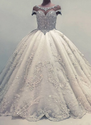 Sexy Ball Gown Wedding Dresses | Shiny Crystals Bridal Gowns with Flowerss_1