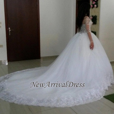 Elegant Long Sleeve Cheap Online Crystals Tulle Ball Gown Wedding Dresses_1