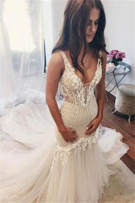 Mermaid V-Neck Wedding Dresses | Sleeveless Open Back Bridal Dresses with Buttons_1