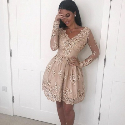 Modest Lace Appliques V-neck Homecoming Dress | Long Sleeve Party Gown_3