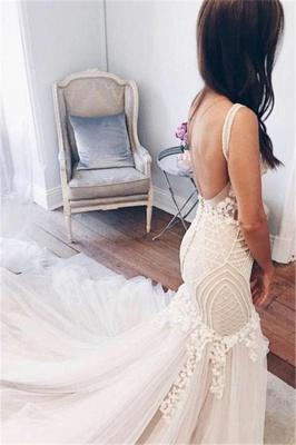 Mermaid V-Neck Wedding Dresses | Sleeveless Open Back Bridal Dresses with Buttons_3