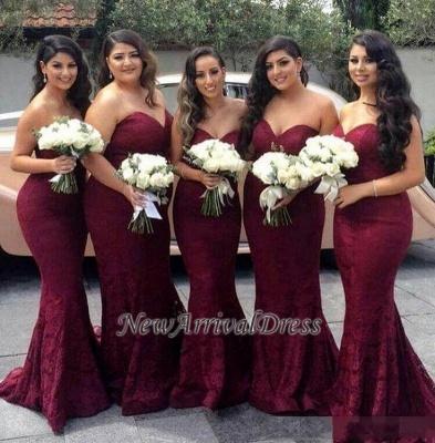 Sweetheart-Neck Mermaid Burgundy Long Lace Bridesmaid Dress_1