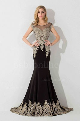 5a3fc16569d Black Gold Lace Applique Mermaid Evening Gowns Capped Sleeves Sheer Long  Prom Dresses