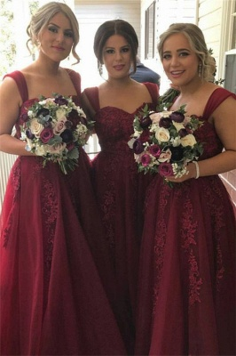 Burgundy Lace-Appliques Sweetheart Tulle Straps summer Bridesmaid Dress_2