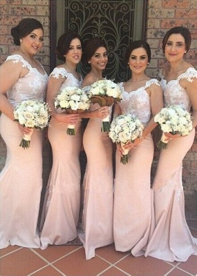 Mermaid Lace Bridesmaid Dresses Pink Sweetheart Off-shoulder Court Train Maid of Honor Dresses_2