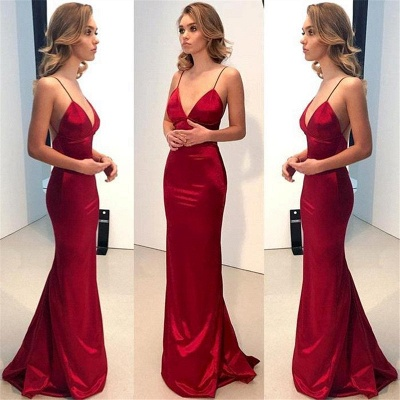 Spaghetti Straps Sexy Cheap Formal Dress | Close-fitting V-neck Open Back Formal Dresses_3