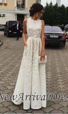Satin Long Charming white Gradient Scoop Print Sleeveless Prom Dresses_1