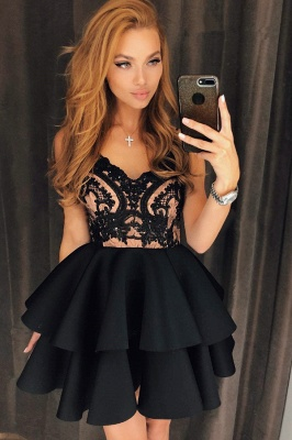 Modest Straps Ruffled Lace Homecoming Dress | Short Party Gown_1