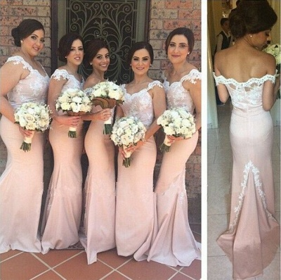 Mermaid Lace Bridesmaid Dresses Pink Sweetheart Off-shoulder Court Train Maid of Honor Dresses_3