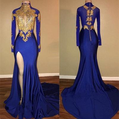 Modern High Neck Mermaid Front Split Prom Dresses Cheap | Gold Prom Dresses Cheap BA7711_3