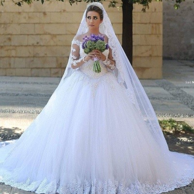Appliques Tulle Long Sleeves Cheap Online New Arrival Lace Beadings Elegant Ball Gown Wedding Dresses_5