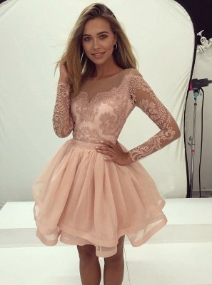 3dccd4ab129c Delicate Long Sleeve Lace Short Illusion A-line Homecoming Dress BA7086  Item  Code  D153690535835478