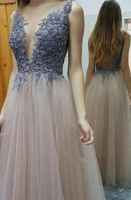 Deep-V-Neck Lace-Appliques A-line Sexy Layers Prom Dresses