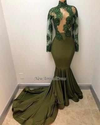 Mermaid Illusion Long Sleeve Gorgeous High Neck Long Prom Dresses Cheap_1