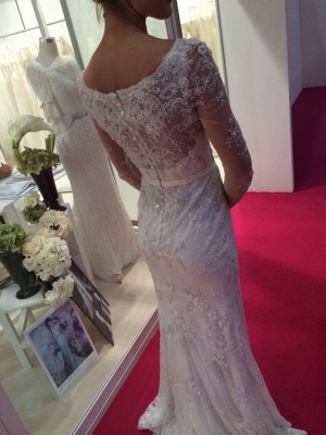 Lace Appliques Elegant Long Sleeve Cheap Online Crystals Buttons Mermaid Wedding Dresses_3