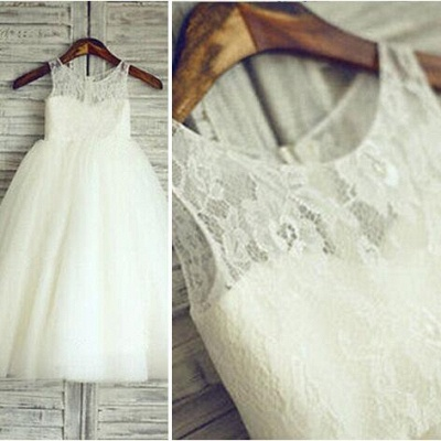 White A-Line Tulle Flower Girl Dresses Lace Sleeveless Party Gowns_2