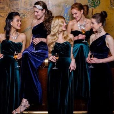 Elegant Turquoise Velvet Mermaid Long Bridesmaid Dresses_3