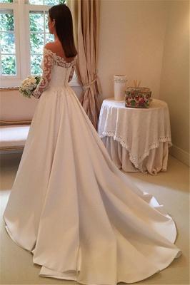 Off The Shoulder Long Sleeve Wedding Dresses   Satin Elegant Bridal Gowns Cheap Online_4