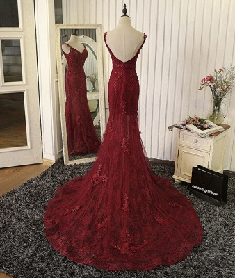 Tulle Mermaid Burgundy Prom Dresses Appliques Open Back Dresses Lace Evening Gowns_3