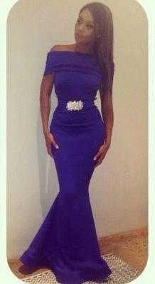 Purple Off-the-Shoulder Mermaid Evening Gowns Beading Sash Belt Satin Long Prom Dresses_1