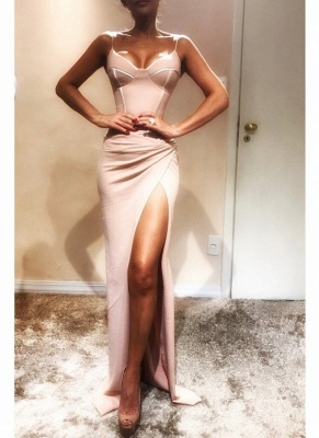 Sexy Spaghetti-Strap Sexy Mermaid Prom Dresses   Sleeveless Side Slit Evening Gowns_1