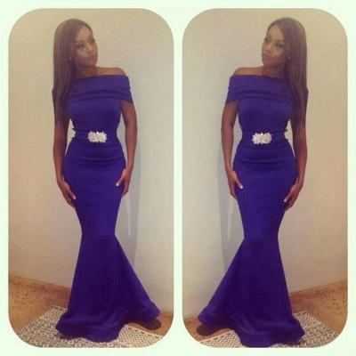 Purple Off-the-Shoulder Mermaid Evening Gowns Beading Sash Belt Satin Long Prom Dresses_2