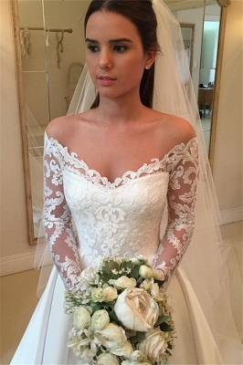 Off The Shoulder Long Sleeve Wedding Dresses   Satin Elegant Bridal Gowns Cheap Online_3