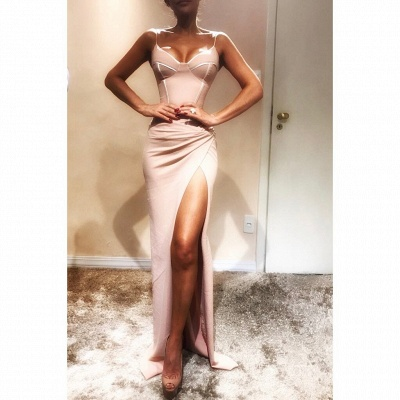 Sexy Spaghetti-Strap Sexy Mermaid Prom Dresses   Sleeveless Side Slit Evening Gowns_4