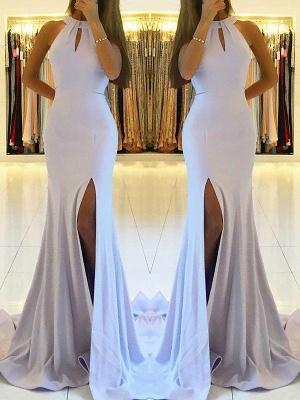 Newest Sleeveless Front Split Long Evening Dress   Backless Prom Dress_1