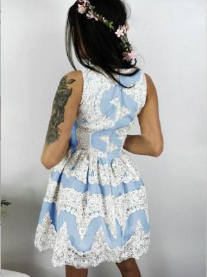 Newest Lace Straps Zipper Sleeveless Short Homecoming Dress_3