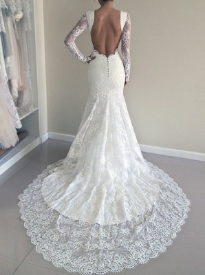 Backless Mermaid Gorgeous Lace Long Sleeve Sweep Train Wedding Dresses Cheap Online_4