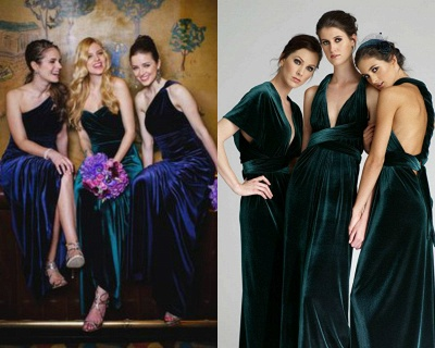 Elegant Turquoise Velvet Mermaid Long Bridesmaid Dresses_2