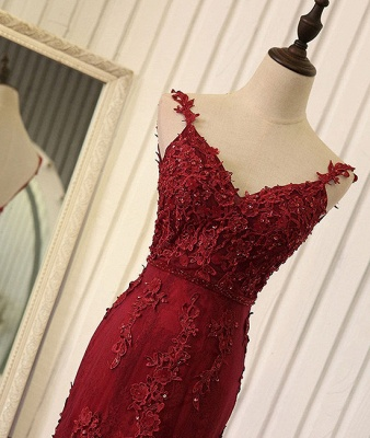 Tulle Mermaid Burgundy Prom Dresses Appliques Open Back Dresses Lace Evening Gowns_4