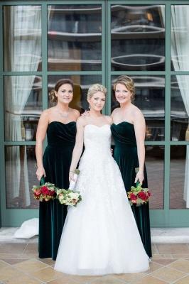 Elegant Turquoise Velvet Mermaid Long Bridesmaid Dresses_4