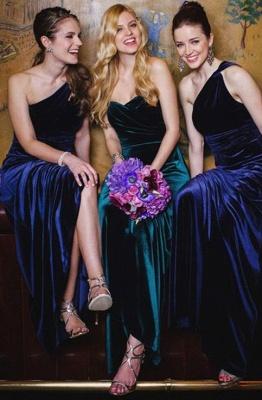 Elegant Turquoise Velvet Mermaid Long Bridesmaid Dresses_5