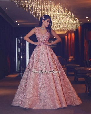 Flowers Beading Luxury Pink Puffy V-Neck Lace Evening Gowns_1