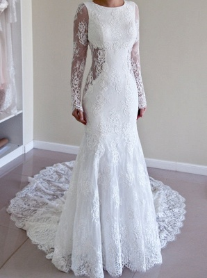 Backless Mermaid Gorgeous Lace Long Sleeve Sweep Train Wedding Dresses Cheap Online_2