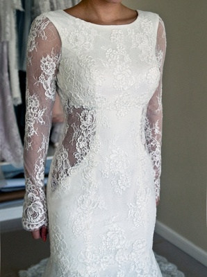 Backless Mermaid Gorgeous Lace Long Sleeve Sweep Train Wedding Dresses Cheap Online_3