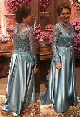 Elegant Lace Appliques A-line Long Sleeve Mother Of Bride Dress_1