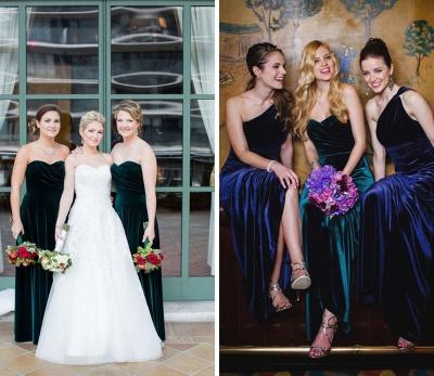 Elegant Turquoise Velvet Mermaid Long Bridesmaid Dresses_1