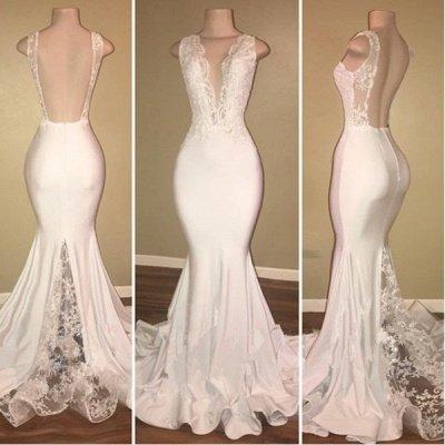 New Arrival White Open Back V-neck Lace Mermaid Sleeveless Prom Dresses Cheap_3