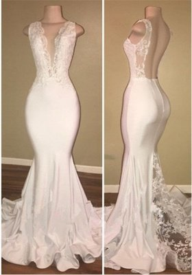 New Arrival White Open Back V-neck Lace Mermaid Sleeveless Prom Dresses Cheap_1