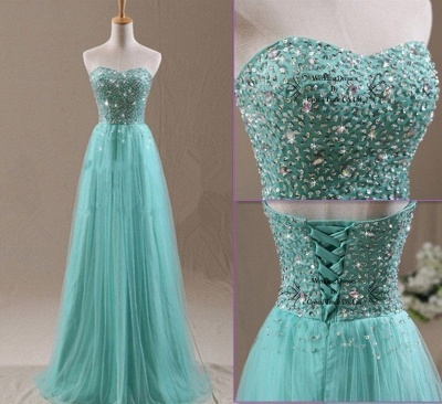 eff765e8bb20b Mint Beading Mint Tulle Prom Dresses Lace-up Back Formal Evening Gowns
